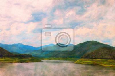 Ölgemälde Berg / Fotoeffekt Ölgemälde