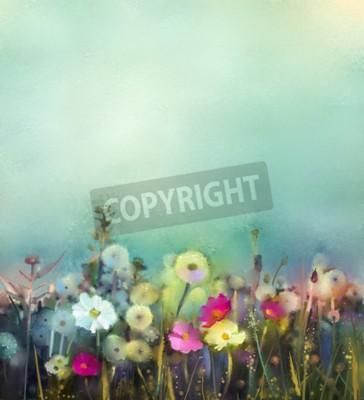 Fototapete Ölgemälde Blumen Löwenzahn, Mohn, Daisy in den Bereichen. Hand malen Wildblumen Feld im Sommer Wiese. Frühling floral saisonale Natur mit blau - grün in weichen Farbe Hintergrund.