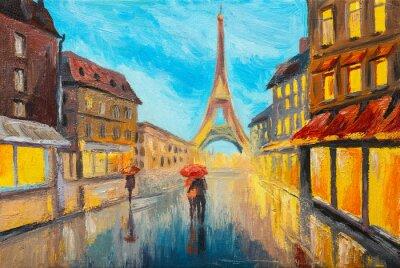 Fototapete Ölgemälde des Eiffelturms, Frankreich