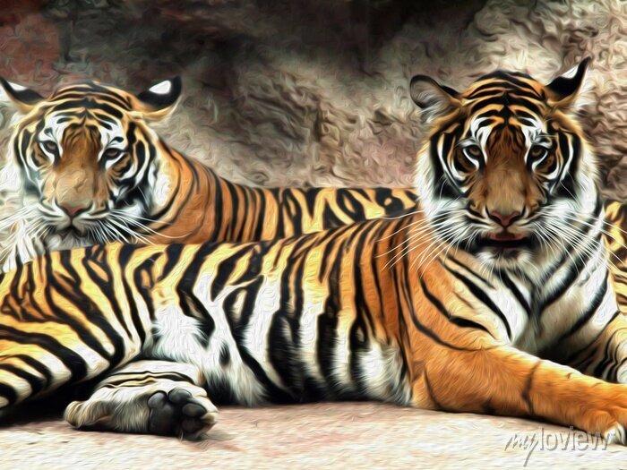 Fototapete Ölgemälde Tiger / Fotoeffekt Ölgemälde