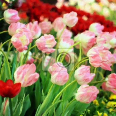 Ölgemälde Tulpen / Fotoeffekt Ölgemälde