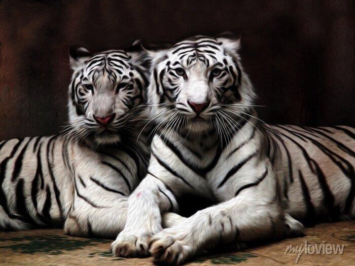 Fototapete Ölgemälde Weißer Tiger / Fotoeffekt Ölgemälde