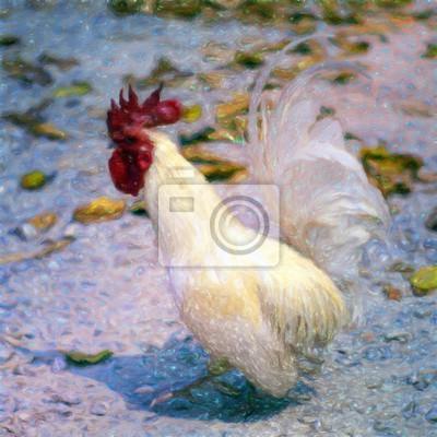 Ölgemälde Weißes Huhn / Fotoeffekt Ölgemälde