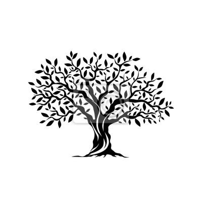 Fototapete Olivenbaum Silhouette Symbol isoliert auf weißem Hintergrund.