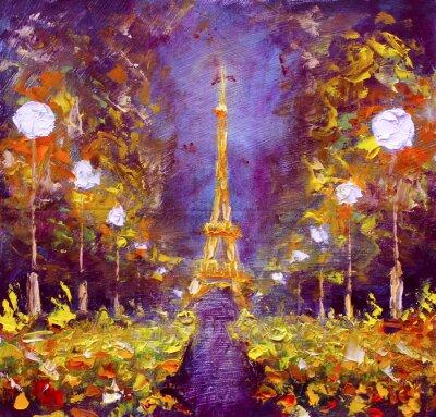 Fototapete Ölmalerei - Eiffelturm in der Nacht Frankreich durch Rybakow