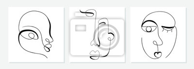 Fototapete One line drawing abstract face. Modern single line art man and woman portrait, minimalist contour. Great for home decor such as posters, wall art, tote bag, t-shirt print, sticker, mobile case. Vector