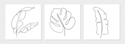 Fototapete One line drawing vector monstera leaf and banana tree leaves. Modern single line art, aesthetic contour. Perfect for home decor such as posters, wall art, tote bag, t-shirt print, sticker, mobile case