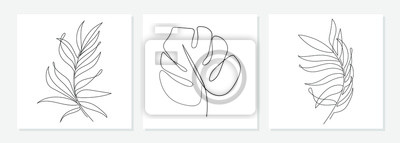 Fototapete One line drawing vector monstera leaf and palm tree leaves. Modern single line art, aesthetic contour. Perfect for home decor such as posters, wall art, tote bag or t-shirt print, sticker, mobile case