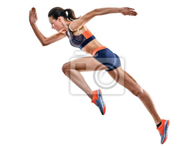 Fototapete one young caucasian woman runner running jogger jogging athletics competition isolated on white background