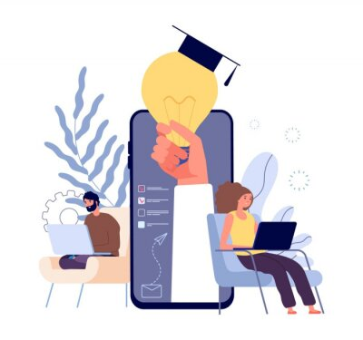 Fototapete Online education. Distance learning students, e learning concept. People studying with laptops and tablets vector illustration. Education student online, distance university e-learning