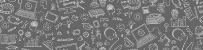 Fototapete Online education seamless web banner. Distance learning doodles on grey background. Vector illustration.