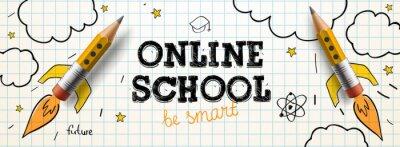 Fototapete Online School. Digital internet tutorials and courses, online education. Vector banner template for website and mobile app development
