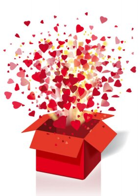 Open explosion red gift box fly hearts and confetti Happy Valentine s day. Vector illustration template bamer poster isolated. White background