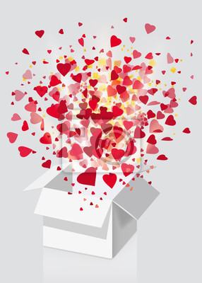Open explosion white gift box fly hearts and confetti Happy Valentine s day. Vector illustration template bamer poster isolated. White background