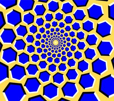 optische illusion blaue sechsecke bewegen sich auf einem gelben fototapete fototapeten. Black Bedroom Furniture Sets. Home Design Ideas