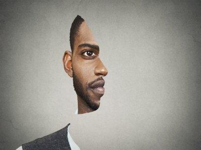 Fototapete Optische Täuschung Porträt Front mit ausgeschnittenen Profil des Menschen