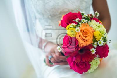 Orange Gelb Weisse Hochzeitsstrauss Fototapete Fototapeten