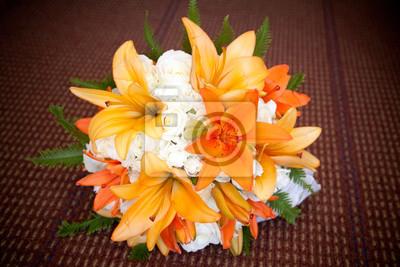 Orange Lilie Und Weisse Rose Blumen Hochzeit Bouquet Fototapete