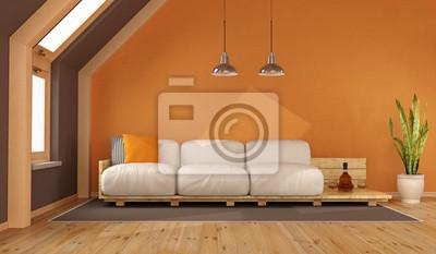 Wohnzimmer In Orange | Orange Wohnzimmer Im Dachgeschoss Fototapete Fototapeten Mansarde