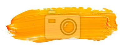 Fototapete Orange yellow brush stroke isolated on white background. Orange abstract stroke. Colorful watercolor brush stroke.