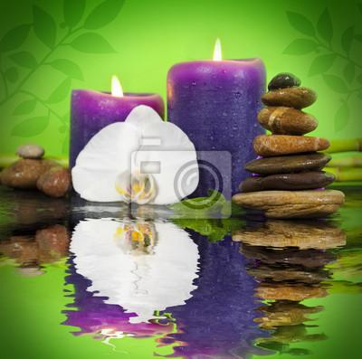 Orchidee Mit Bambus Markt Auf Schieferplatte Kerzen Und Steinen