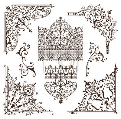 orientalische ornamente grenzen dekorative elemente mit ecken fototapete fototapeten d nne. Black Bedroom Furniture Sets. Home Design Ideas