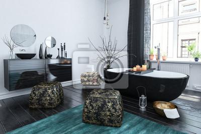 Orientalisches Badezimmer Mit Schwarzem Lackdekor Fototapete