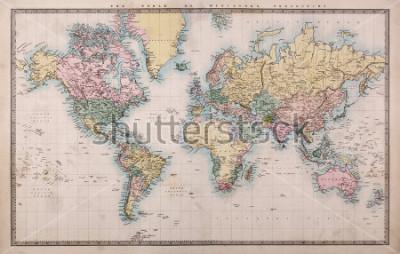 Fototapete Original alte handkolorierte Karte der Welt auf Mercators Projektion um 1860, die Länder sind so benannt wie damals, dh Persien, Arabien etc. ein paar Flecken wie für eine Karte über 150 Jahre alt erw