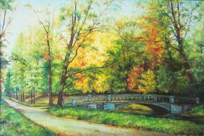 Fototapete Original-Ölgemälde der Brücke in den Wald