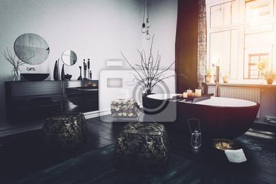 Original orientalischen stil schwarz badezimmer interieur fototapete ...