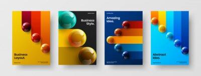 Fototapete Original poster vector design template set. Premium 3D balls brochure concept collection.