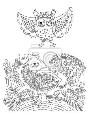 Original schwarz-weiß-linie zeichnung seite von malbuch fototapete ...
