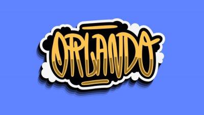 Orlando Florida Usa Hand Lettering Sticker Design.