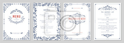 Fototapete Ornate classic templates set in vintage style. Wedding and restaurant menu.