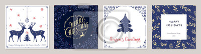 Fototapete Ornate Merry Christmas greeting cards. Trendy square Winter Holidays art templates.