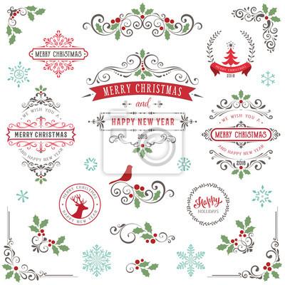 Frohe Weihnachten Rahmen.Fototapete Ornate Weihnachten Rahmen Und Wirbeln Elemente Mit Frohe Weihnachten