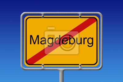 Ortsschild Ortsausgang Magdeburg