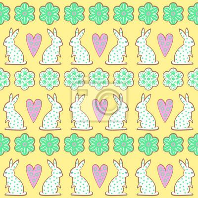 Fototapete Oster-Cookies-Muster, Karte - Osterhase, Blumen, Herzen auf gelbem Hintergrund. Cute vector nahtlose Hintergrund. Bunte fröhliche Ostern Illustration.