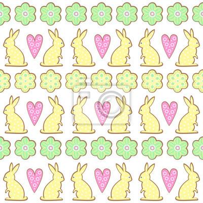 Fototapete Oster-Cookies-Muster, Karte - Osterhase, Blumen, Herzen. Cute vector nahtlose Hintergrund. Bunte fröhliche Ostern Illustration.