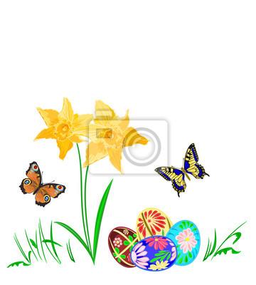 Osterei mit Narzissen und Schmetterlinge