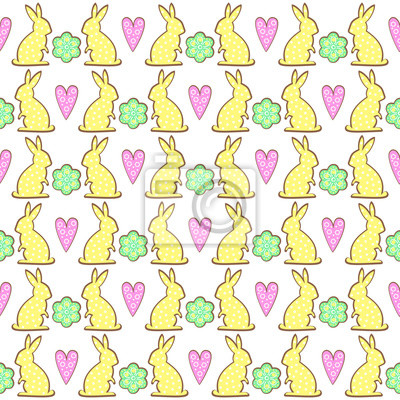 Fototapete Osterhase Cookies Muster mit Frühlingsblumen und Herzen. Cute vector nahtlose Hintergrund. Bunte fröhliche Ostern Illustration auf weißem Hintergrund.