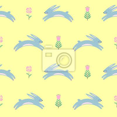 Fototapete Osterhase mit Frühlingsblumen nahtlose Muster auf gelbem Hintergrund. Netter skandinavischer Stil Urlaub Hintergrund. Cartoon Baby Kaninchen Illustration. Ostern Design für Textil, Stoff, Dekor.