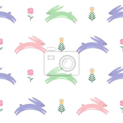 Fototapete Osterhase mit Frühlingsblumen nahtlose Muster. Netter skandinavischer Stil Urlaub Hintergrund. Cartoon Baby Kaninchen Illustration. Ostern Design für Textil, Stoff, Dekor.