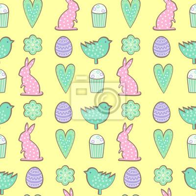 Fototapete Ostern Cookies Muster - Hase, Blumen, Herzen Ostereier auf gelbem Hintergrund. Cute Vektor nahtlose Hintergrund. Bunte fröhliche Ostern Illustration.