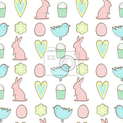 Fototapete Ostern Cookies Muster - Hase, Blumen, Herzen Ostereier auf weißem Hintergrund. Cute Vektor nahtlose Hintergrund. Bunte fröhliche Ostern Illustration.