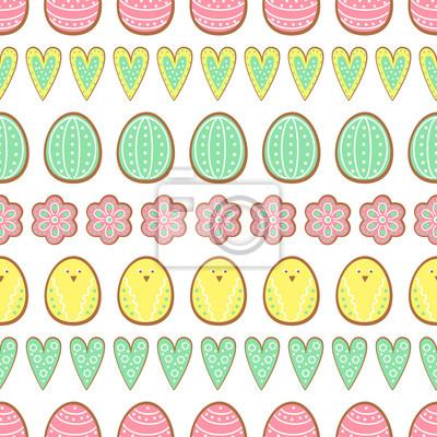 Fototapete Ostern Cookies Muster, Karte - Ostereier, Herzen und Blumen. Cute vector nahtlose Hintergrund. Bunte fröhliche Ostern Illustration.