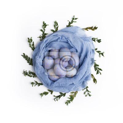 Ostern Gesprenkelte Blaue Eier Im Nest Fototapete Fototapeten