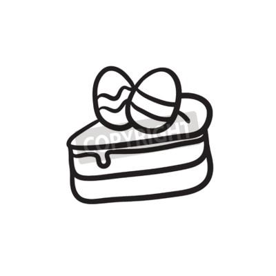 Ostern Kuchen Mit Eiern Vektor Skizze Icon Isoliert Auf Den