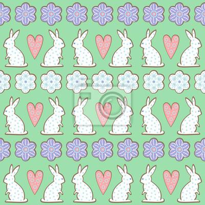 Fototapete Ostern Muster, Karte - Hase, Blumen, Herzen auf Minze grünen Hintergrund. Cute Vektor nahtlose Hintergrund. Bunte fröhliche Ostern Illustration. Design für Textil, Tapete, Karte
