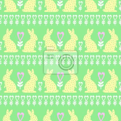Fototapete Ostern Muster mit Osterhase, Herzen und Blumen auf grünem Hintergrund. Nahtlose Frühling Urlaub Hintergrund. Nette Ostern-Abbildung.